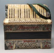 A RETRO 20TH CENTURY FRANCESO MODELLO PIANO ACCORDION WITH GREY MARBLE EFFECT VENEER