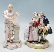 19TH CENTURY VICTORIAN LUDWIGSBURG HAND PASTE PORCELAIN FIGURING TOGETHER WITH A SITZENDORF FIGURIN