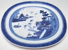 CHINESE BLUE AND WHITE ANTIQUE PLATTER
