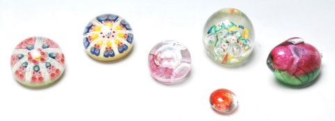 SIX VINTAGE 20TH CENTURY ART STUDIO PAPERWEIGHTS