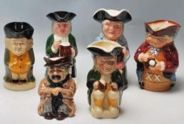 SIX VINTAGE 20TH CENTURY TOBY JUGS / CHARACTER JUGS