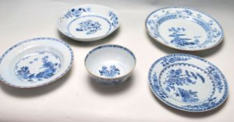 18TH CENTURY CHINESE BLUE AND WHITE CERAMIC BOWLS / PLATES