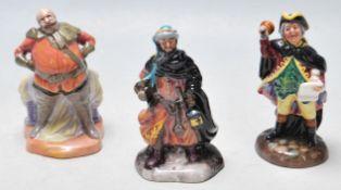 GROUP OF THREE ROYAL DOULTON CERAMIC FIGURINES - GOOD KING WENCESLAS - TOWN CRIER - FALSTAFF