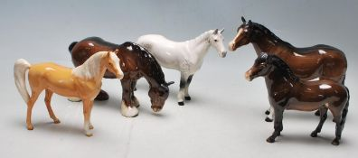 COLLECTION OF FIVE VINTAGE ORIGINAL BESWICK HORSE