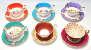 SIX CERAMIC PORCELAIN CABINET CUPS AND SAUCERS BY HAMMERSLEY AND AYNSLEY