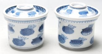 PAIR OF 19TH CENTURY MEIJI PERIOD JAPANESE / CHINESE STYLE BLUE AND WHITE BOWLS AND COVERS