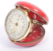 ORIGINAL 1950'S CORAL FOLDING TRAVELLING DESK CLOCK