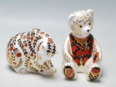 TWO ROYAL CROWN DERBY CERAMIC PAPERWEIGHTS FIGURINES IN A FORM OF A BEAR
