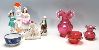 GROUP OF 19TH CENTURY VICTORIAN CERAMICS - CRANBERRY GLASS - STAFFORDSHIRE FLAT BACK
