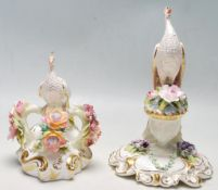 TWO ROYAL CROWN DERBY PORCELAIN CERAMIC FIGURINES OF A PEACOCK
