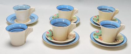 BIZARRE BY CLARICE CLIFF NEWPORT POTTERY COFFEE SET / TEA SET