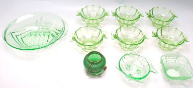 COLLECTION OF ART DECO GREEN GLASS