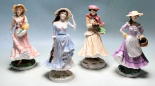 A COMPLETE SET OF FOUR ROYAL WORCESTER - THE FOUR SEASONS CERAMIC FIGURINES