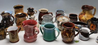 A LARGE COLLECTION OF VINTAGE 20TH CENTURY ART STUDIO POTTERY VASES AND JUGS