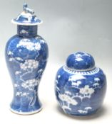 ANTIQUE CHINESE BLUE AND WHITE PRUNUS PATTERN CERAMICS