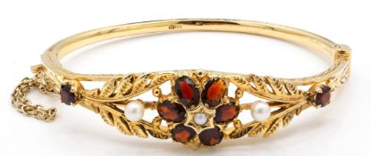 A Hallmarked 9ct Gold Garnet & Pearl Hinged Bangle