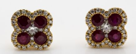 Pair of 18ct Yellow Gold Ruby & Diamond Clover Leaf Earrings