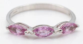 18ct White Gold & Padparadacha Sapphire Ring