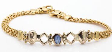 Hallmarked 9ct Gold & Sapphire Cabochon Bracelet Chain