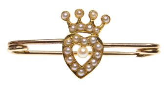 Gold & Seed Pearl Heart & Coronet Pin Brooch