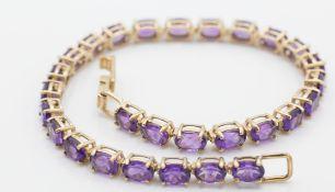 9ct Gold & Amethyst Bracelet
