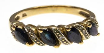 A 9ct Gold Sapphire & Diamond Band Ring