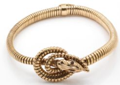 Hallmarked 9ct gold Orouboros Snake Serpent Bangle