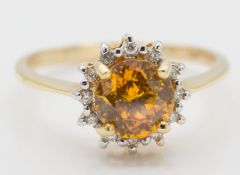 18ct Gold Sphalerite & Diamond Ring
