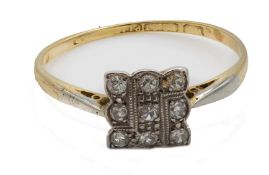 A 1920's 18Ct Gold And Platinum Diamond Ring