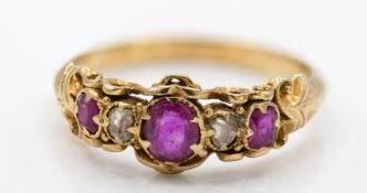 Victorian 9ct Gold Ruby & Diamond Antique Ring