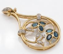 A 9ct gold Mutuca Indicolite Tourmaline & White Sapphire Necklace Pendant
