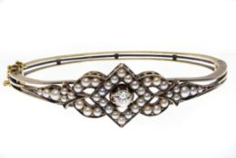 Victorian Gold Diamond & Pearl Bracelet Bangle