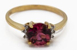 18ct Gold Pink Tourmaline & Diamond Ring