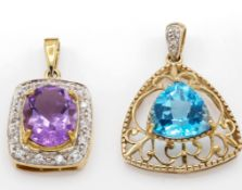 Two 9ct Gold & Gem Set Necklace Pendants