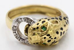 18ct Gold Emerald & Diamond Figural Leopard Ring