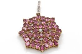 Pink Tourmaline & Zircon Necklace Pendant
