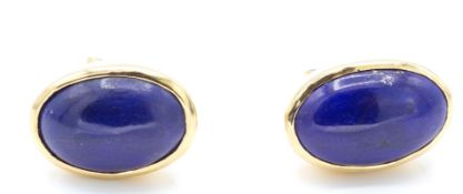 A Pair of Gold & Lapis Lazuli Earrings