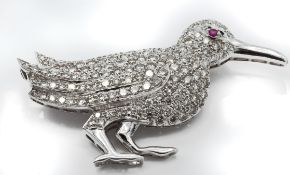 A French 18ct White Gold Ruby & Diamond Bird Brooch