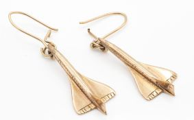 A Pair of Hallmarked 9ct Gold Concord Earrings