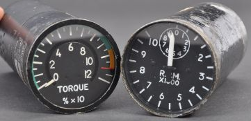 TWO VINTAGE AEROPLANE COCKPIT INSTRUMENT DIALS / GAUGES