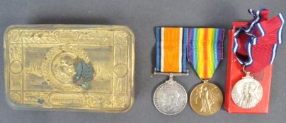WWI FIRST WORLD WAR MEDAL PAIR & PRINCESS MARY TIN