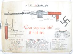 SCARCE ORIGINAL WWII WEAPONS TRAINING MG15 1943 POSTER