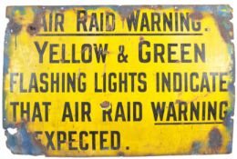 LOCAL INTEREST ARP AIR RAID WARNING ENAMEL SIGN