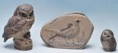 POOLE POTTERY CERAMIC STONEWARE PLAQUE AND OWLS