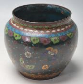 ANTIQUE CHINESE CLOISONNE BUTTERFLY VASE