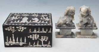 20TH CENTURY EBONISED BOX WITH MOTHER OF PEARL GAR