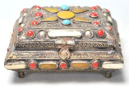 FILIGREE WORKED BONE, CORAL AND TURQUOISE LIDDED B