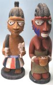 A PAIR OF VINTAGE 20TH CENTURY YORUBA CARVED WOODE