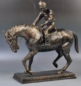 LARGE BRONZE EFFECT HORSE & JOCKEY DECORATIVE FIGU