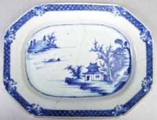 18TH CENTURY CHINESE BLUE AND WHITE PLATTER TRAY